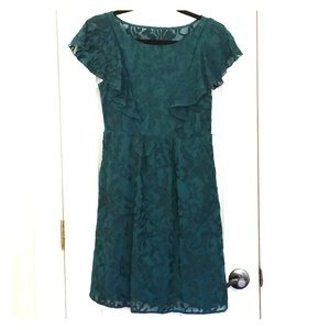 Anthropologie green flutter sleeve dress